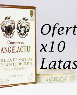 10 Latas de anchoas doble cero Angelachu